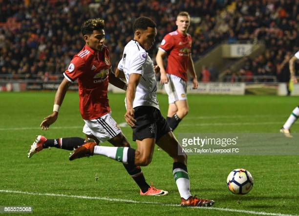 Trent AlexanderArnold of Liverpool and Demetri Mitchell of Manchester United in action during the Manchester United v Liverpool Premier League 2 game...