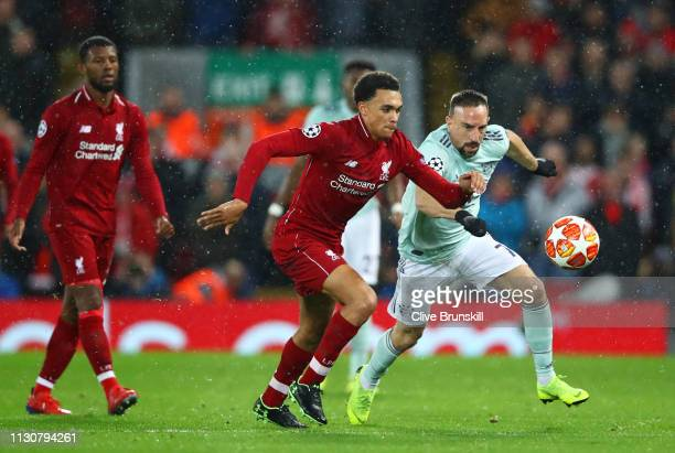 Trent AlexanderArnold of Liverpool and Franck Ribery of Bayern Munich chase the ball during the UEFA Champions League Round of 16 First Leg match...