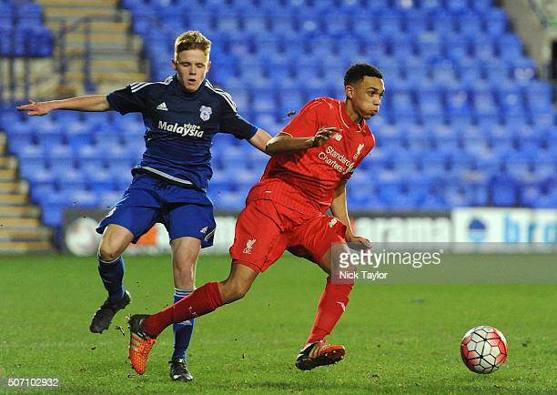 Trent AlexanderArnold of Liverpool and James Waite of Cardiff City in action during the Liverpool v Cardiff City FA Youth Cup game at Prenton Park on...