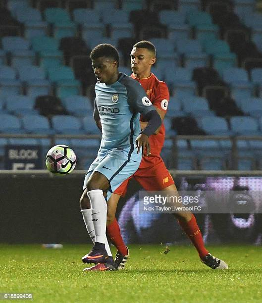 Trent AlexanderArnold of Liverpool and Javairo Dilrosun of Manchester City in action during the Manchester City v Liverpool Premier League 2 game at...