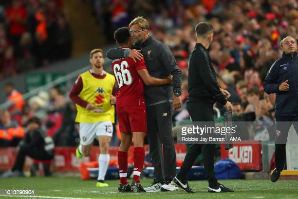 Trent AlexanderArnold of Liverpool and Jurgen Klopp manager / head coach of Liverpool during the preseason friendly between Liverpool and Torino at...