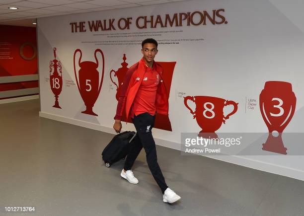 Trent AlexanderArnold of Liverpool arrive before the PreSeason friendly match between Liverpool and Torino at Anfield on August 7 2018 in Liverpool...