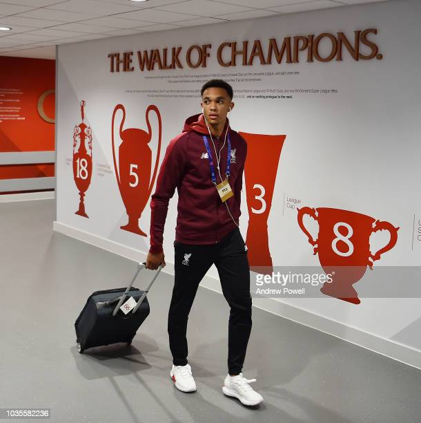 Trent AlexanderArnold of Liverpool arrives before the Group C match of the UEFA Champions League between Liverpool and Paris SaintGermain at Anfield...