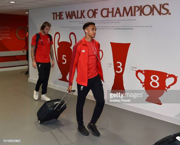 Trent AlexanderArnold of Liverpool arrives before the Premier League match between Liverpool FC and West Ham United at Anfield on August 12 2018 in...