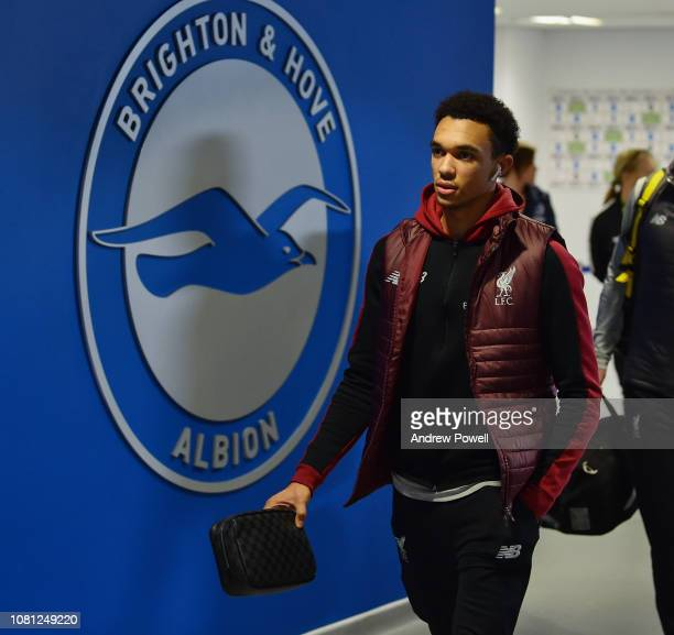 Trent AlexanderArnold of Liverpool arrives before the Premier League match between Brighton Hove Albion and Liverpool FC at American Express...