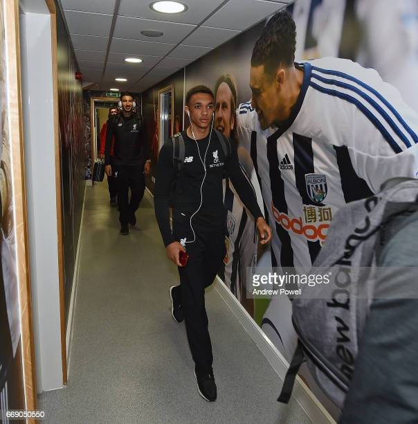Trent AlexanderArnold of Liverpool arrives before the Premier League match between West Bromwich Albion and Liverpool at The Hawthorns on April 16...