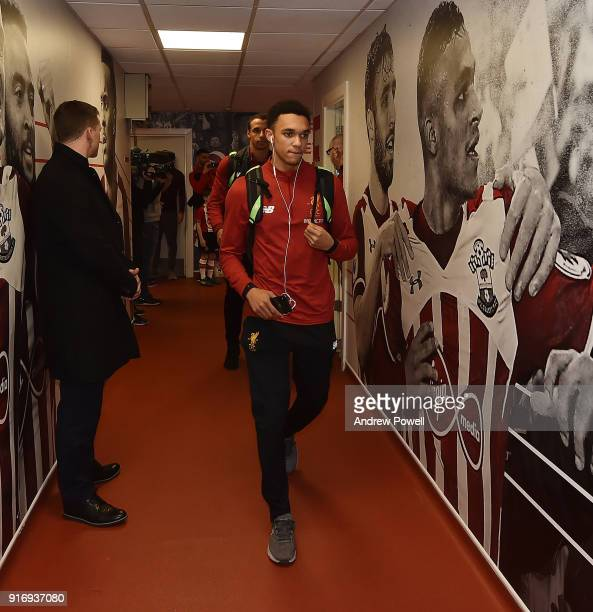 Trent AlexanderArnold of Liverpool arrives before the Premier League match between Southampton and Liverpool at St Mary's Stadium on February 11 2018...