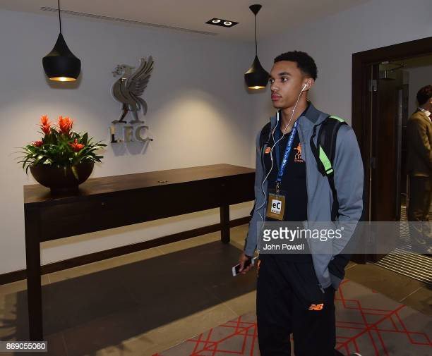 Trent AlexanderArnold of Liverpool arrives before the UEFA Champions League group E match between Liverpool FC and NK Maribor at Anfield on November...
