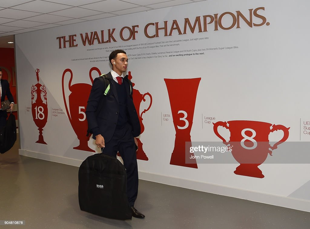 Trent Alexander-Arnold of Liverpool arrives for the Premier League match between Liverpool and Manchester City at Anfield on January 14, 2018 in Liverpool, England.