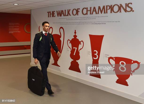 Trent AlexanderArnold of Liverpool arriving before the Premier League match between Liverpool and Tottenham Hotspur at Anfield on February 4 2018 in...