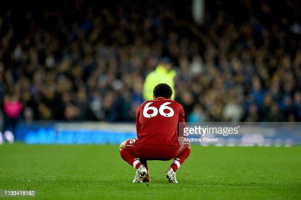 Trent AlexanderArnold of Liverpool at the end of the Premier League match between Everton FC and Liverpool FC at Goodison Park on March 03 2019 in...