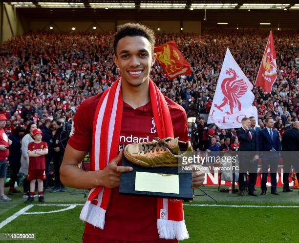 Trent AlexanderArnold of Liverpool at the end of the Premier League match between Liverpool FC and Wolverhampton Wanderers at Anfield on May 12 2019...