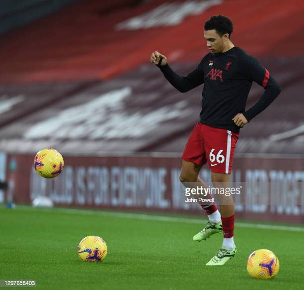 Trent Alexander-Arnold of Liverpool before the Premier League match between Liverpool and Burnley at Anfield on January 21, 2021 in Liverpool,...