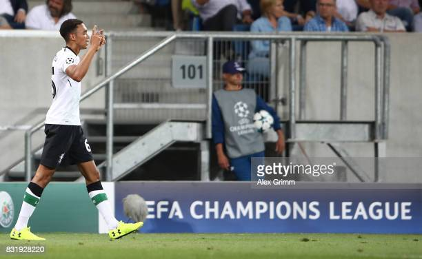 Trent AlexanderArnold of Liverpool celebrates after scoring during the UEFA Champions League Qualifying PlayOffs Round First Leg match between 1899...