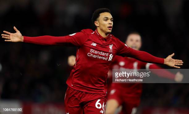 Trent AlexanderArnold of Liverpool celebrates after scoring his team's second goal during the Premier League match between Watford FC and Liverpool...