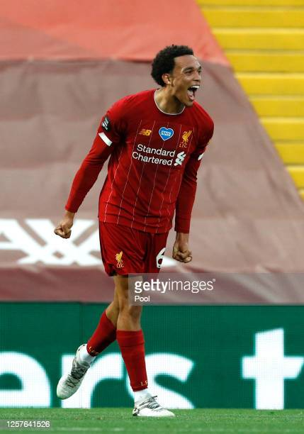 Trent Alexander-Arnold of Liverpool celebrates after scoring his team's second goal during the Premier League match between Liverpool FC and Chelsea...