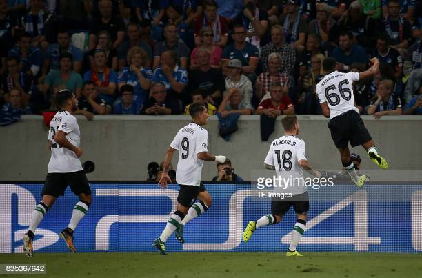 Trent AlexanderArnold of Liverpool celebrates after scoring his team`s first goal during the UEFA Champions League Qualifying PlayOffs Round First...