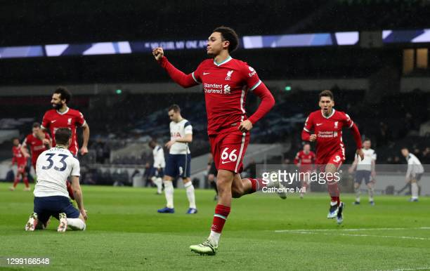 Trent Alexander-Arnold of Liverpool celebrates after scoring their team's second goal during the Premier League match between Tottenham Hotspur and...