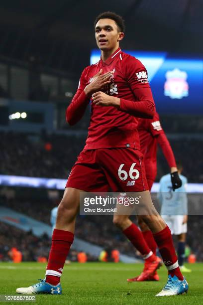 Trent AlexanderArnold of Liverpool celebrates his sides first goal during the Premier League match between Manchester City and Liverpool FC at the...