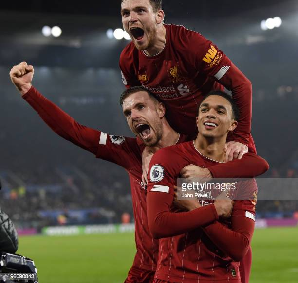 Trent AlexanderArnold of Liverpool celebrating after scoring a goal during the Premier League match between Leicester City and Liverpool FC at The...