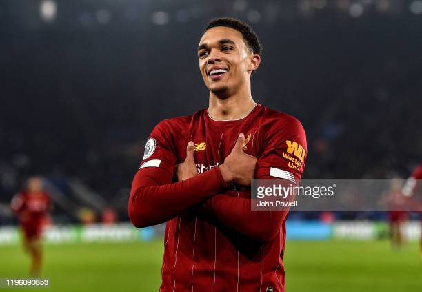 Trent Alexander-Arnold of Liverpool celebrating after scoring a goal during the Premier League match between Leicester City and Liverpool FC at The...