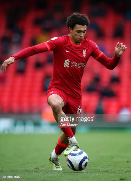 Trent Alexander-Arnold of Liverpool controls the ball during the Premier League match between Liverpool and Crystal Palace at Anfield on May 23, 2021...
