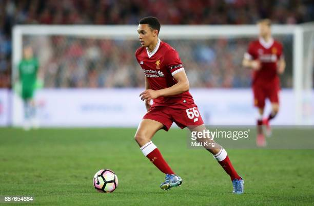 Trent AlexanderArnold of Liverpool controls the ball during the International Friendly match between Sydney FC and Liverpool FC at ANZ Stadium on May...