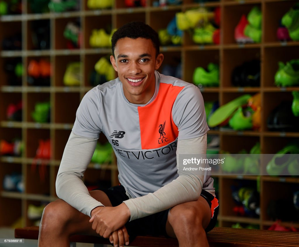Trent Alexander-Arnold of Liverpool during a photoshoot at Melwood Training Ground on May 5, 2017 in Liverpool, England.