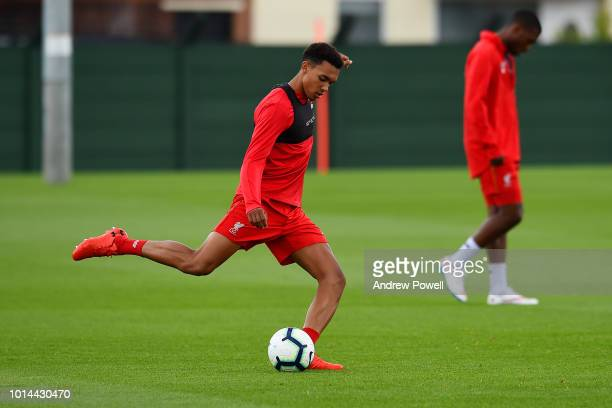 Trent AlexanderArnold of Liverpool during a training session at Melwood Training Ground on August 10 2018 in Liverpool England