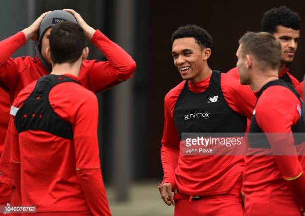 Trent AlexanderArnold of Liverpool during a training session at Melwood Training Ground on October 5 2018 in Liverpool England