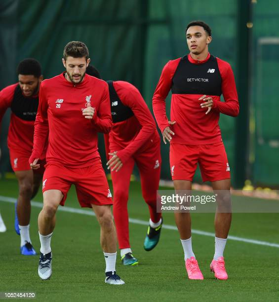 Trent AlexanderArnold of Liverpool during a training session at Melwood Training Ground on October 18 2018 in Liverpool England