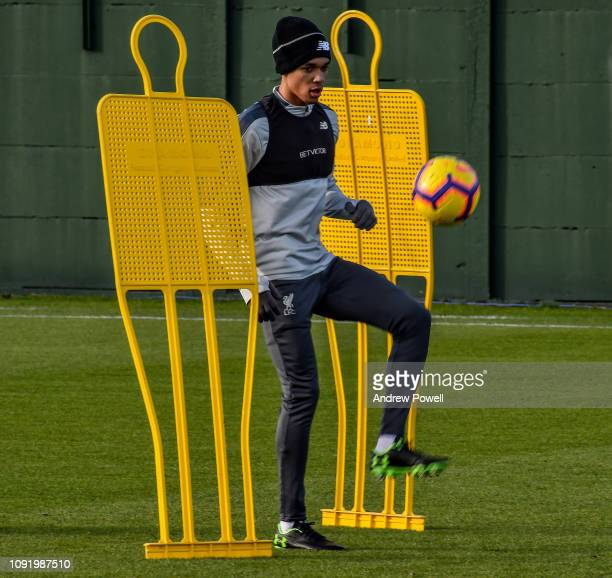 Trent AlexanderArnold of Liverpool during a training session at Melwood Training Ground on February 1 2019 in Liverpool England