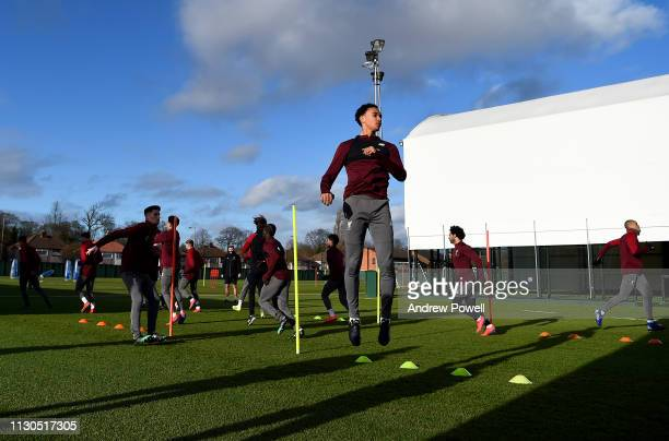 Trent AlexanderArnold of Liverpool during a training session at Melwood training ground on February 18 2019 in Liverpool England