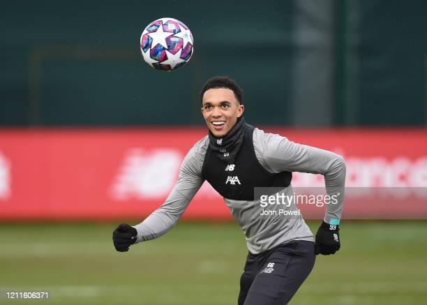 Trent AlexanderArnold of Liverpool during a training session at Melwood on March 10 2020 in Liverpool United Kingdom Liverpool FC will face Atletico...