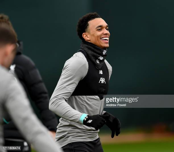Trent AlexanderArnold of Liverpool during a training session at Melwood training ground on March 10 2020 in Liverpool United Kingdom Liverpool FC...