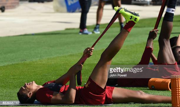 Trent AlexanderArnold of Liverpool during a training session at Melwood Training Ground on August 17 2017 in Liverpool England