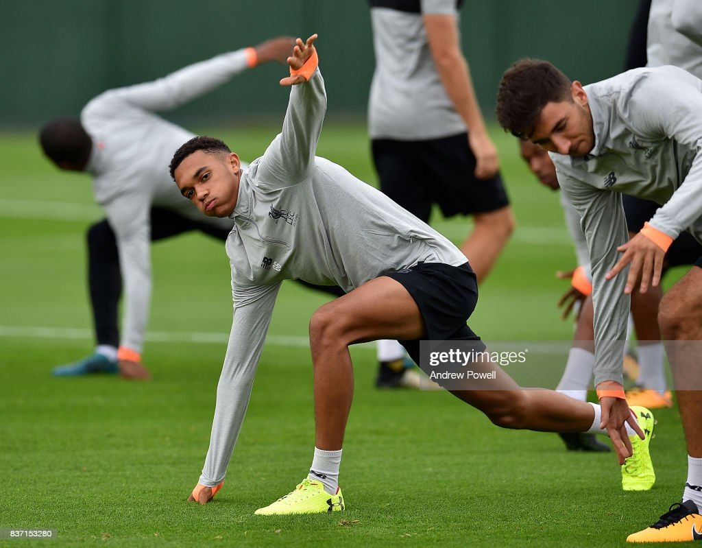 Trent Alexander-Arnold of Liverpool during a training session at Melwood training ground on August 22, 2017 in Liverpool, England.