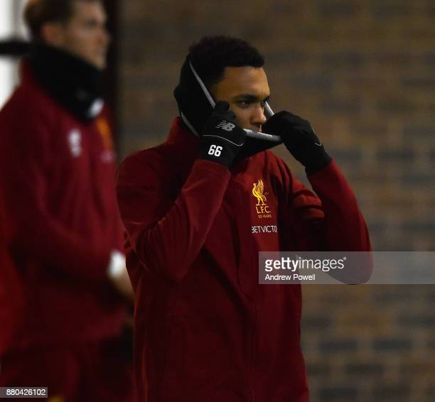 Trent AlexanderArnold of Liverpool during a training session at Melwood Training Ground on November 27 2017 in Liverpool England