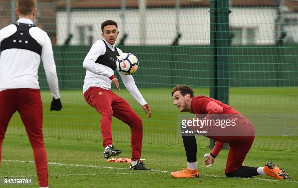 Trent AlexanderArnold of Liverpool during a training session at Melwood Training Ground on April 12 2018 in Liverpool England