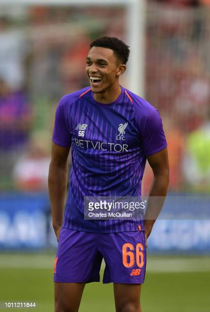 Trent AlexanderArnold of Liverpool during the international friendly game between Liverpool and Napoli at Aviva Stadium on August 4 2018 in Dublin...