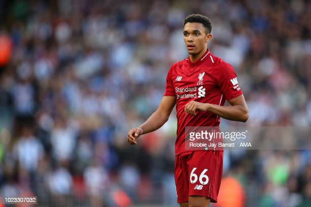 Trent AlexanderArnold of Liverpool during the Premier League match between Liverpool FC and Brighton Hove Albion at Anfield on August 25 2018 in...