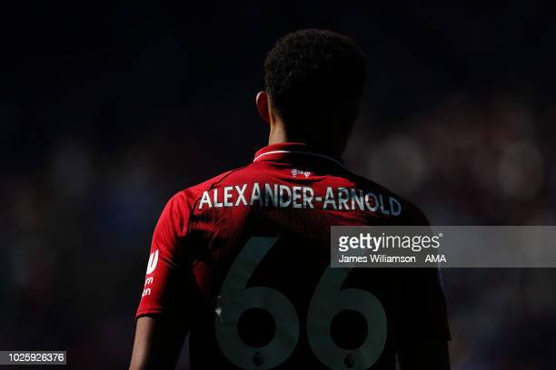 Trent AlexanderArnold of Liverpool during the Premier League match between Leicester City and Liverpool FC at The King Power Stadium on September 1...