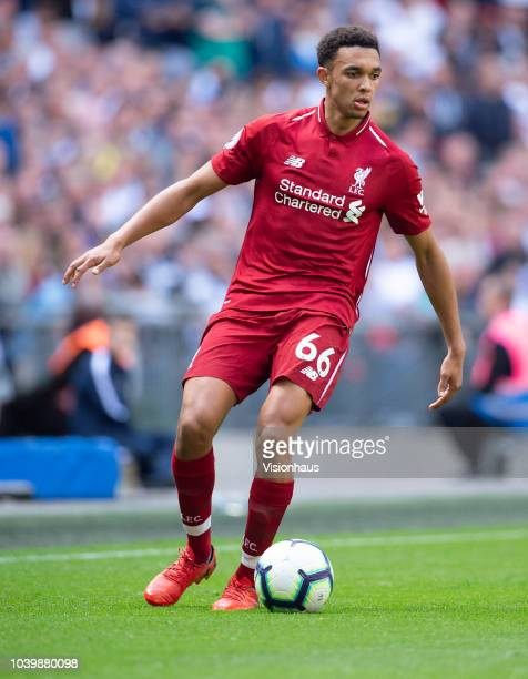 Trent AlexanderArnold of LIverpool during the Premier League match between Tottenham Hotspur and Liverpool FC at Wembley Stadium on September 15 2018...