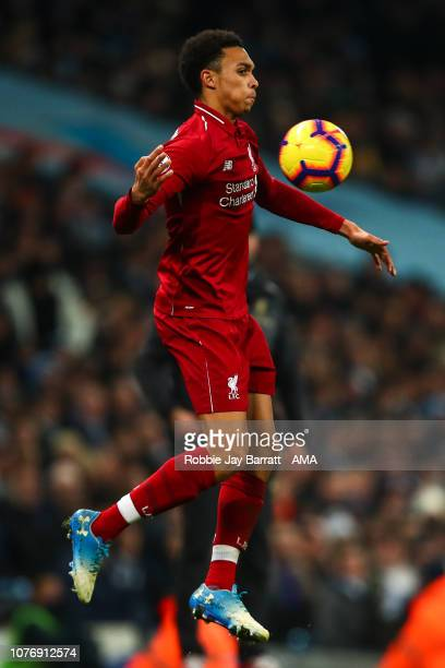 Trent AlexanderArnold of Liverpool during the Premier League match between Manchester City and Liverpool FC at Etihad Stadium on January 3 2019 in...