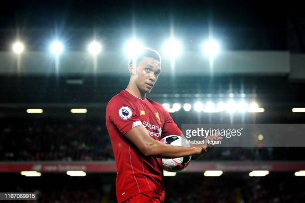Trent AlexanderArnold of Liverpool during the Premier League match between Liverpool FC and Norwich City at Anfield on August 09 2019 in Liverpool...