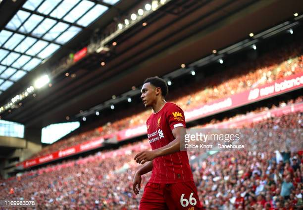 Trent AlexanderArnold of Liverpool during the Premier League match between Liverpool FC and Arsenal FC at Anfield on August 24 2019 in Liverpool...