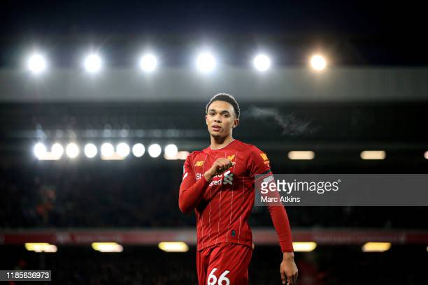 Trent AlexanderArnold of Liverpool during the Premier League match between Liverpool FC and Brighton Hove Albion at Anfield on November 30 2019 in...