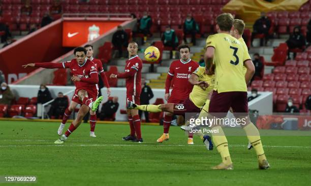Trent Alexander-Arnold of Liverpool during the Premier League match between Liverpool and Burnley at Anfield on January 21, 2021 in Liverpool,...