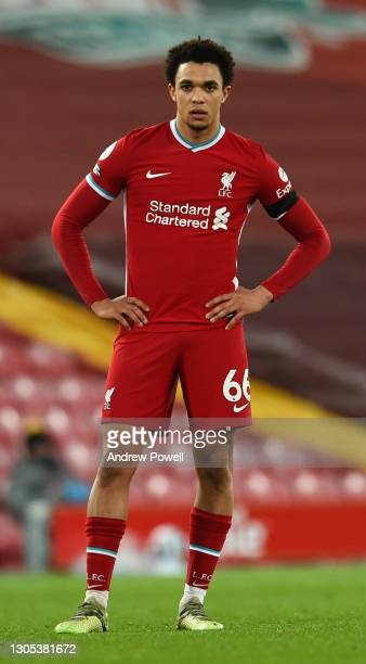 Trent Alexander-Arnold of Liverpool during the Premier League match between Liverpool and Chelsea at Anfield on March 04, 2021 in Liverpool, England....