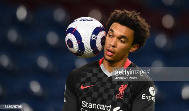Trent Alexander-Arnold of Liverpool during the Premier League match between Burnley and Liverpool at Turf Moor on May 19, 2021 in Burnley, England.